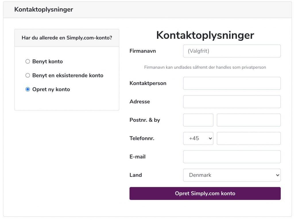Opret ny konto hos simply.com