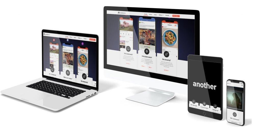 Mockup af AdCreators hjemmeside der er responsiv på alle enheder