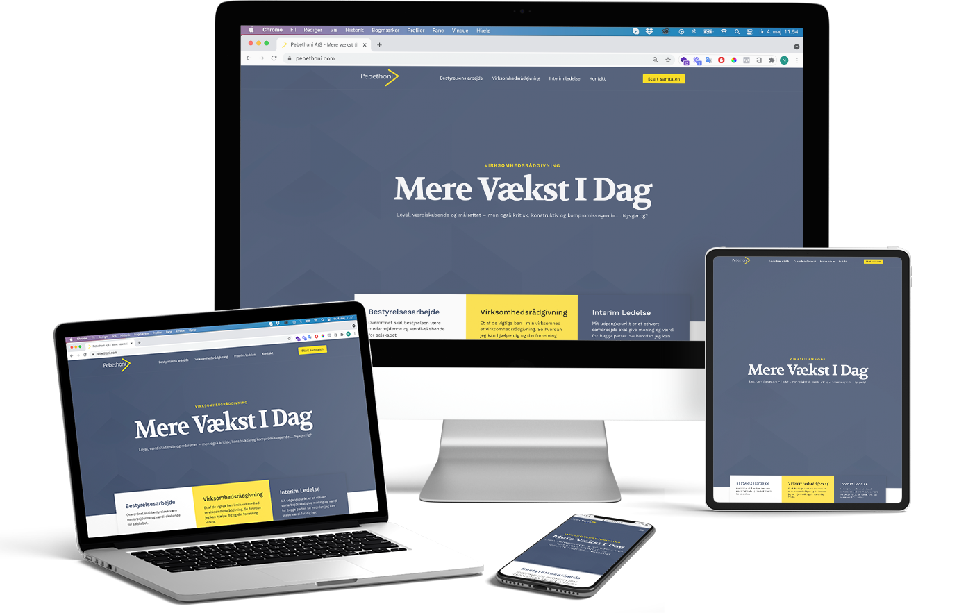 Pebethoni A/S hjemmesiden i respontivt design på macbook, iphone, ipad og imac