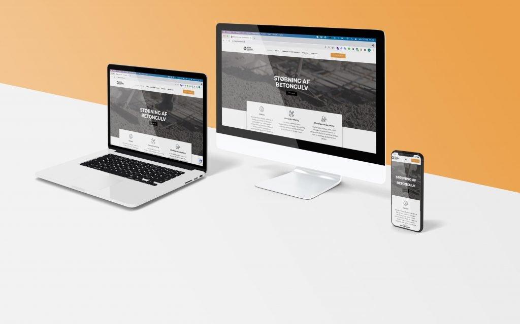 mockup af hjemmeside til betonkanonen